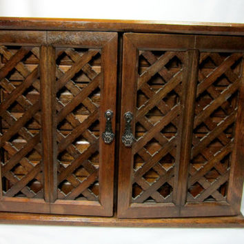 MELE Wood Jewelry Box Chest Vintage Lattice Doors