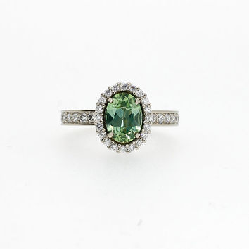 ready to ship size 5.5, Oval cut Mint green tourmaline halo engagement ring, diamond ring, white gold, halo engagement, green tourmaline