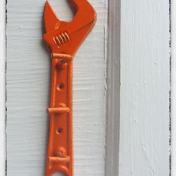 Bright Orange Wall Hook, Farm Tools, Wrench Hook, Cast Iron ,Orange Decor ,Dad, Fall, Metal Wall Decor, Patio, Game Room,Groomsmen Gift,
