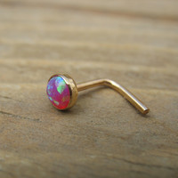 Nose and Tragus Stud 09 Opal 4mm Gold Filled