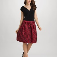 Flocked Plaid Dress