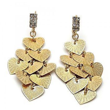 Gold Layered 5.108.002 Chandelier Earring, Heart Design, with White Cubic Zirconia, Diamond Cutting Finish, Gold Tone