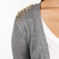 Sale-Grey Long Sleeve Studded Cardigan