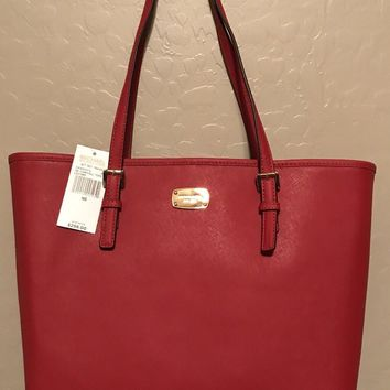 NWT MK Michael Kors Jet Set Small Travel Carryall Tote Bag Purse Red $298