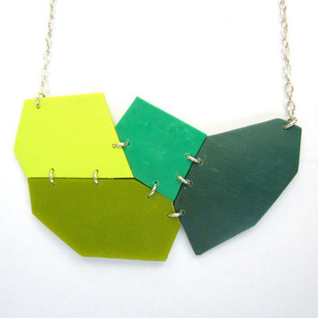 Modern Statement Necklace, Green Necklace, Jade Necklace, Yellow Necklace, Geometric Jewelry, Abstract Colorful Jewelry, Sterling Silver