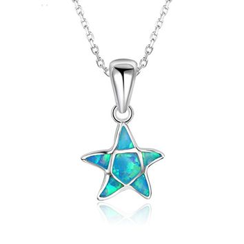 "Sterling Silver Starfish Pendant Necklace, 17"" Necklace for Girls Mom Women Pendant"