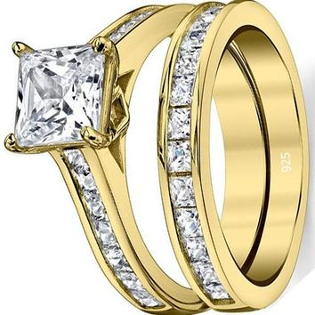 2.30 Carats Gold Tone Over Solid Sterling Silver Princess Cut Bridal Set Engagement Wedding Ring Bands With Cubic Zirconia