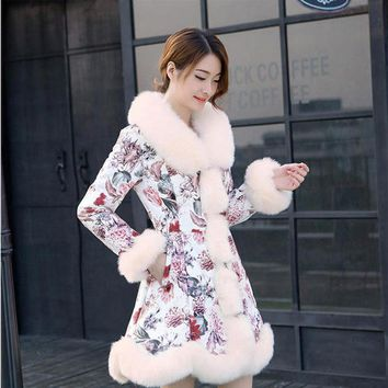 Women's Elegant Slim Warm Faux Fur Coat Floral Print Patchwork Fur Medium Long Overcoat Down Jacket Casaco Feminino Inverno E90
