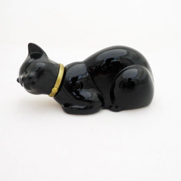 Vintage Avon  Black Glass Cat Shaped Perfume Scent Bottle, 1960s, UK Seller