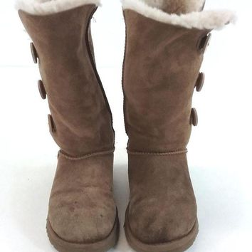 DCK7YE UGG Womens Sheepskin Bailey Button Triplet Lined Boot - Chestnut Suede US Size 6