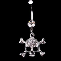Skull Rhinestone Dangle Ball Barbell Belly Button Navel Ring Body Piercing Jewelry Belly Dance Accessories