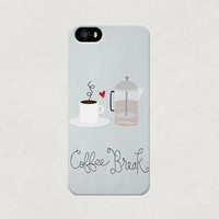 Coffee Break French Press and Cup iPhone 4 4s 5 5s 5c Case