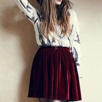 Retro Velvet Pleated Skirt - Oasap High Street Fashion