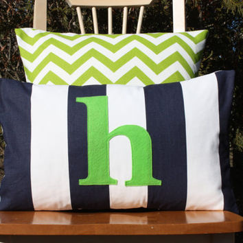 Monogrammed Lumbar Pillow Cover - Navy and White Stripe with Lime Green Monogram