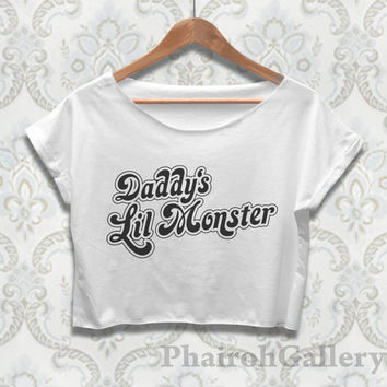 Daddy's Lil Monster Crop Top Shirt Harley Quinn Tshirt Suicide Squad Merch For Women Ladies Teen