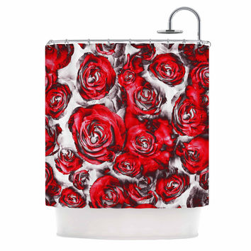 "Dawid Roc ""Red Roses Floral Abstract"" Red Abstract Shower Curtain"