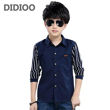 Striped Shirts For Boys Clothing Children Tops Patchwork Letter Blouses Spring Autumn Kids Clothes