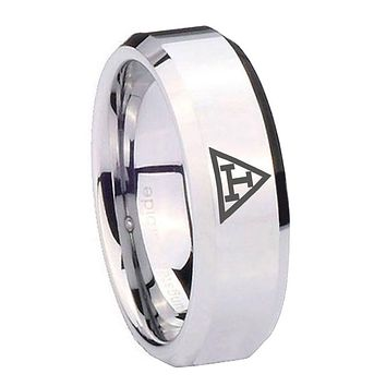 8MM Mirror Bevel Edges Masonic Triple Silver Tungsten Laser Engraved Ring