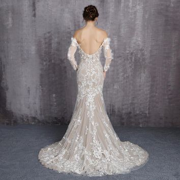 Ever Pretty Dress Boat Neck Long Sleeves Wedding Dresses Appliques Mermaid With Train Backless Wedding Dress