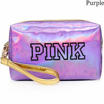 Victoria's Secret 2018 new laser clutch bag ladies small wallet reflective small square bag F0695-1 Purple