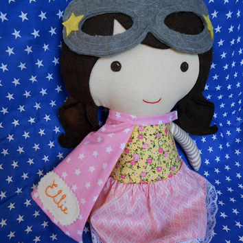 Superhero girl rag doll with supergirl costume, birthday gift for kids at superhero themed party, custom toddler toy with cape and mask
