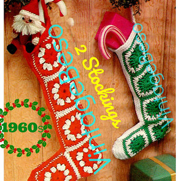 "2 Patterns • Christmas Crochet • Vintage 1960s ""Granny-Like"" Square Stocking Pattern • Christmas STOCKING 20"" + 17"" • PDF • DIGITIAL Pattern"