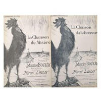 Pre-owned French Rooster Song Sheets Circa 1900 - A Pair
