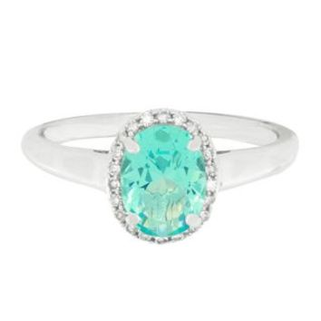 Simulated Paraiba Blue Tourmaline & Diamond Halo Ring in Sterling Silver - Shop All Jewelry - Jewelry - Helzberg Diamonds