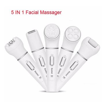 5in1 Set Facial Cleansing Brush Washable Deep Cleanser Electric Massager Shaver