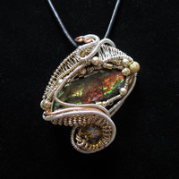 Handmade Ammolite Wire Wrap Pendant in Gold filled by studiodct