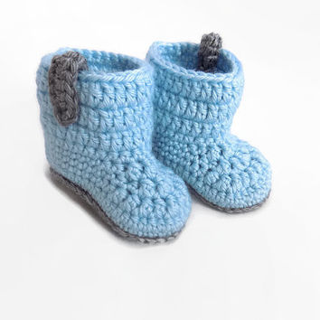 Baby Boy Boots, Baby Booties, Blue Baby Shoes, Crochet Baby Booties