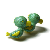 Parrot Stud Earrings, Green Glitter Coating with Yellow, Acrylic, Silver Toned Hypoallergenic Posts