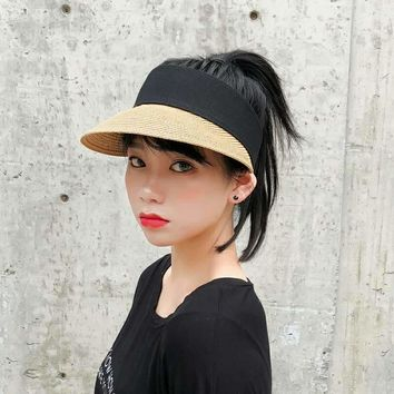 Sun Hats Women Wide Large Brim Floppy Summer Beach Sun Hat Straw Hat Button Cap Summer Truck For Women Anti-uv Visor Cap Female