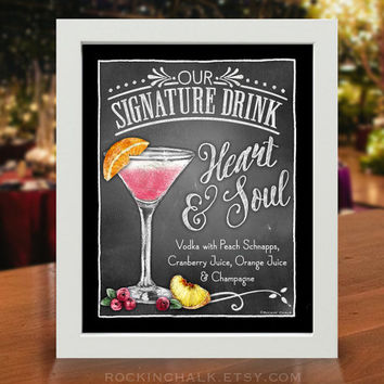 Wedding Decoration | Signature Drink Sign | As-Is or Personalized Wedding Keepsake | Heart and Soul Drink Sign