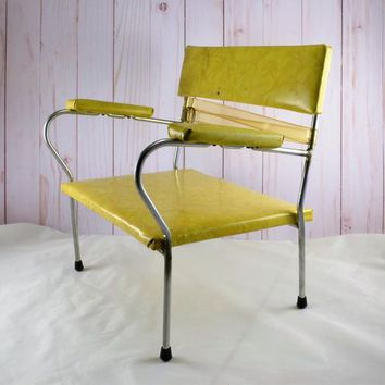 Childs Booster Chair Vintage Mid Century  Yellow Vinyl Metal Belt Arm Rests