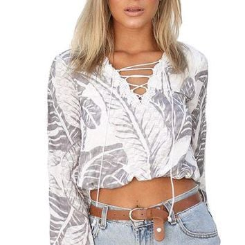 Fashion Leaves Print Hollow Lace Stitching Bandage V-Neck Long Sleeve Shirt  Women Crop Tops