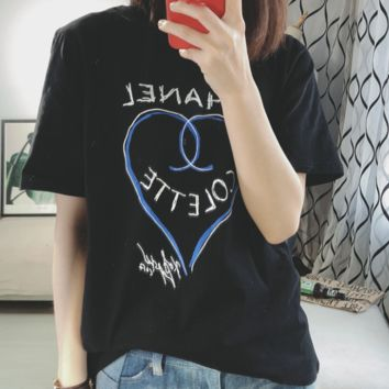 Chanel 2018 simple and fresh Joker letter love printing cotton short-sleeved T-shirt Black