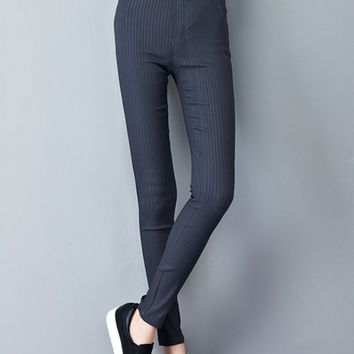 Gray Stripe Elastic Skinny Pants