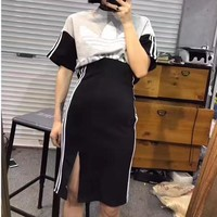 """Adidas"" Women Sport Casual Multicolor Stripe Letter Print Short Sleeve Skirt Set Two-Piece Sportswear"