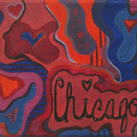 Chicago oil painting abstract painting bedroom dorm decoration 8x11 colorful pink blue fun