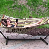 Cotton Rope Hammock With Stand Pad And Pillow Combo