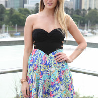 TRIPLE ELASTIC TROPICAL DRESS , DRESSES, TOPS, BOTTOMS, JACKETS & JUMPERS, ACCESSORIES, 50% OFF SALE, PRE ORDER, NEW ARRIVALS, PLAYSUIT, COLOUR, GIFT VOUCHER,,Blue,Green,Print,CUT OUT,STRAPLESS Australia, Queensland, Brisbane