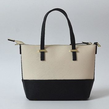 hot sale kate spade new york women fashion shopping pu tote handbag shoulder bag color off white black