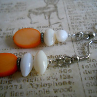 Pumpkin Mother of Pearl Earrings Orange Natural White River Shell Beaded Jewelry
