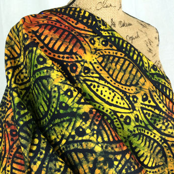 Kenyan Batik Fabric--African Batik Print Fabric--Rust, Yellow, Green, and Black Batik Shields--African Fabric by the HALF YARD