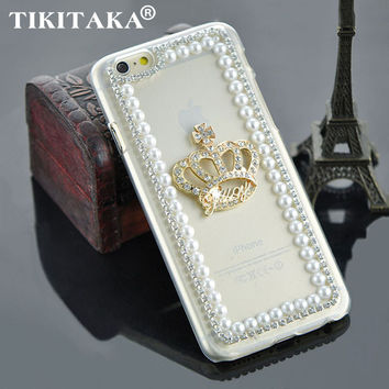 Rhinestone Crown pure pearl bling back cover fashion clear transparent luxury phone case for iphone 5 5S SE 6 6S Plus 6plus