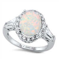 A Perfect 12mm Cabochon Australian White Opal Engagement Ring