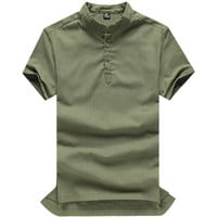 Mens Casual No Collar Polo