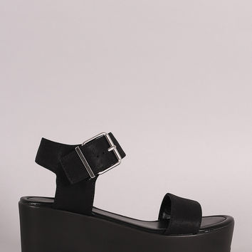 Soda Nubuck Open Toe Flatform Wedge Sandal