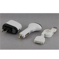 3 in 1 American Plug Adapter Car Charger USB Retractable Cable for iPhone 3G/3GS